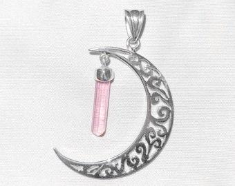 Pink Tourmaline Art Nouveau Crescent Moon Pendant
