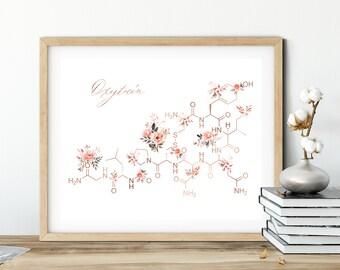 Oxytocin Molecule, Oxytocin Art Print, Feel-good Hormone, Psychology Print, Psychiatric Office Decor, Psychologist Gift, Therapist Wall Art