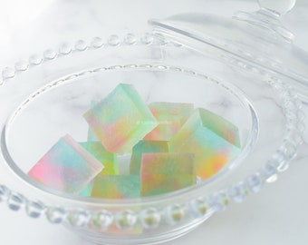 Kohakutou Crystal Jelly Candy, Pieces of Rainbow, Peach and Lemon flavors, Japanese Sweets Wagashi, Gluten free, Vegan, ASMR, BlossomSweets