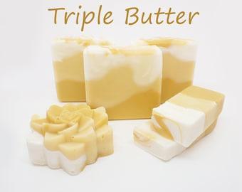 ORGANIC Craft Soap - Triple Butter, Shea, Cocoa, Mango - Bubbly Soaps Cold Soap, Natural Soap, Organic Soap, Vegan