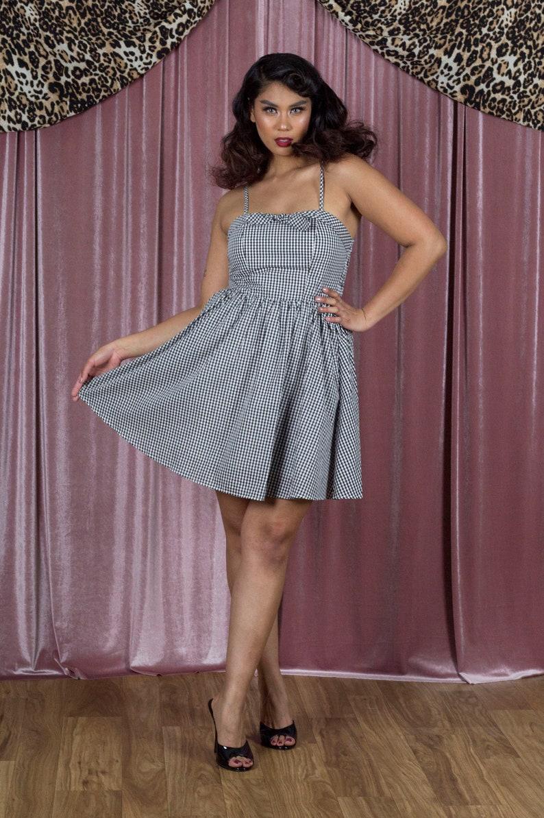 c0ebf96343ea Retro Inspired Gingham Swing Dress in Black & White | Etsy