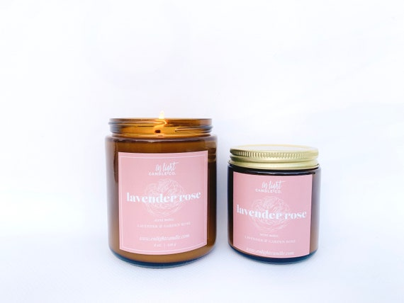Lavender Rose 8 oz or 4 oz Pure Soy Candle - pure lavender, garden rose