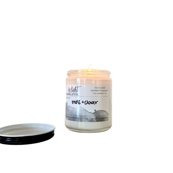 Moss + Clover - 8 oz pure soy hand poured candle