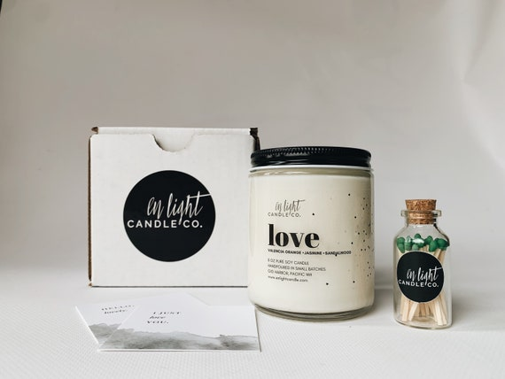 Love Gift Box - pure soy candle, matches and gift card - perfect for Valentine's or Galentine's gifts