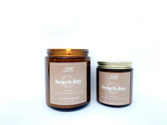 Beach Day Pure Soy 4 oz or 8 oz Summer Scent Candle - Coconut, Sandalwood, Tonka, Vanilla, Santal