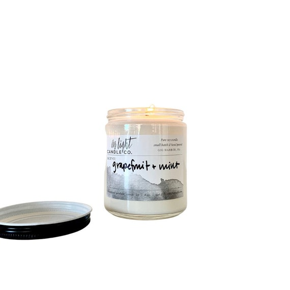Grapefruit + Mint - 8 oz Clear pure soy hand poured candle