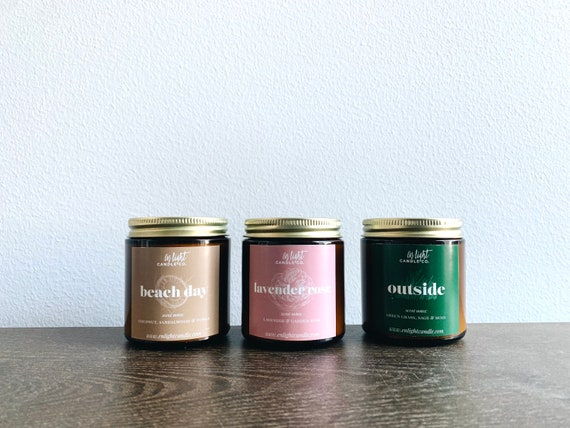 Summer Scent Sampler Pack - 3 4oz Pure Soy Candles-Coconut, Lavender, Rose, Fresh Grass