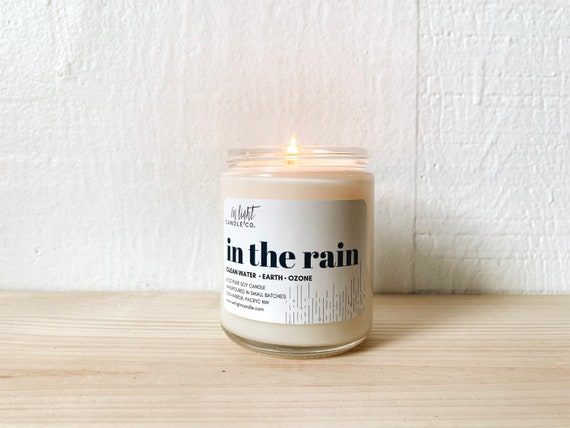 In the Rain 8 oz or 4 oz Pure Soy Candle - Spring Water Scent