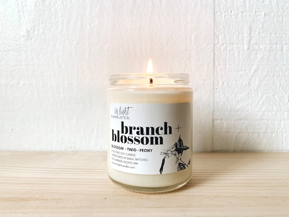 Branch + Blossom 8 oz or 4 oz Pure Soy Candle - Spring Floral Scent