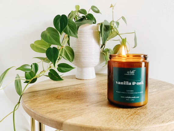 Vanilla + Oak - 4 oz or 8 oz Pure Soy Candle {Fall Cozy, Spicy + Sophisticated}