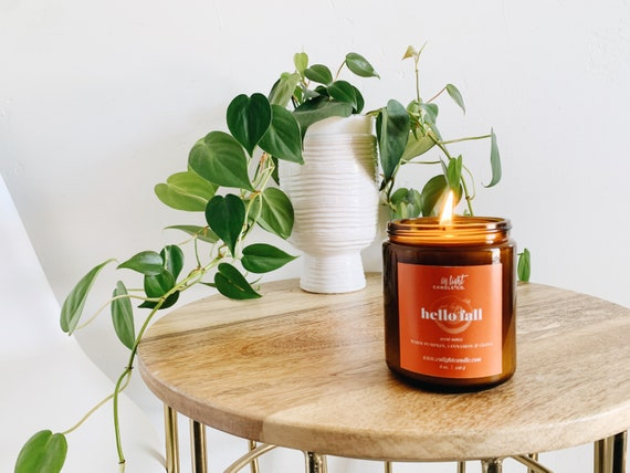 Hello Fall - 4 or 8 oz Pure Soy Candle {Pumpkin Spice} Best Fall Candle Cozy, Spicy, Basic Fall Candle