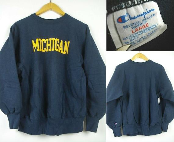 L Vintage 80s CHAMPION Reverse Weave MICHIGAN Swea