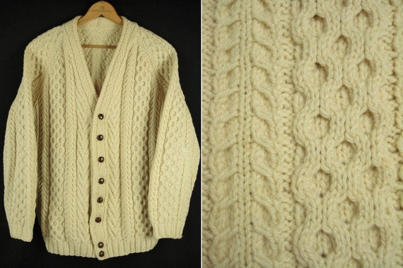Vintage Handknitted Cable knit Fisherman Cardigan