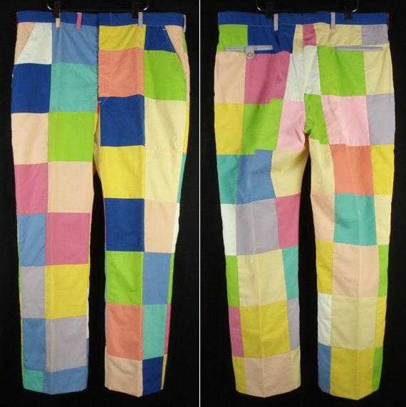 39 x 30.5 Vintage Color Block Colorful Patchwork S