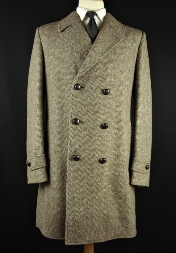 Vintage Tweed Wool DB Overcoat Top Coat Herringbon
