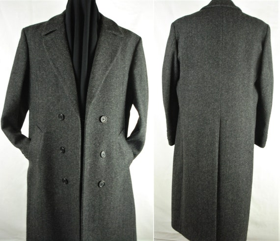 sz44 Vintage 90s Double Breasted Wool Overcoat Top