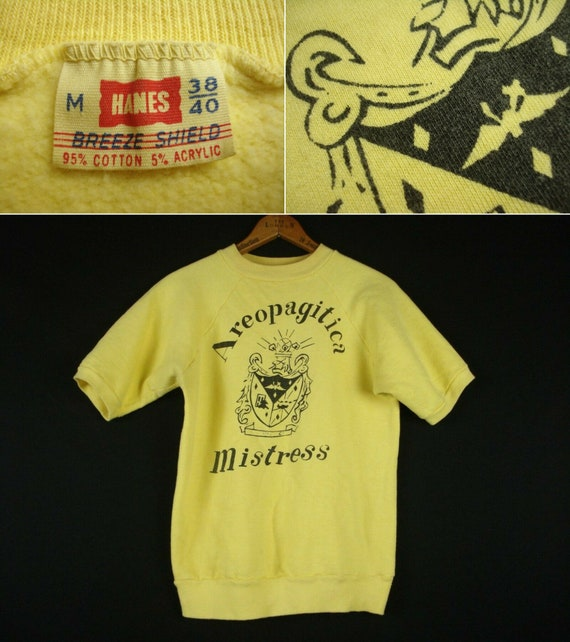 Vintage 60s Hanes Sweat Shirt Short Sleeve M 38/40
