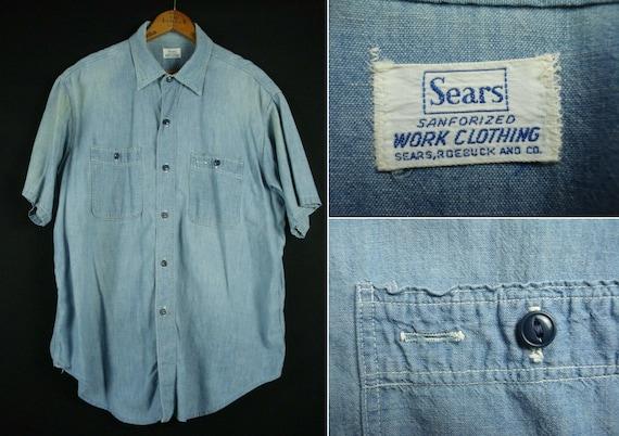 Vintage 50s era Sears Sanforized Work Clothing Blu