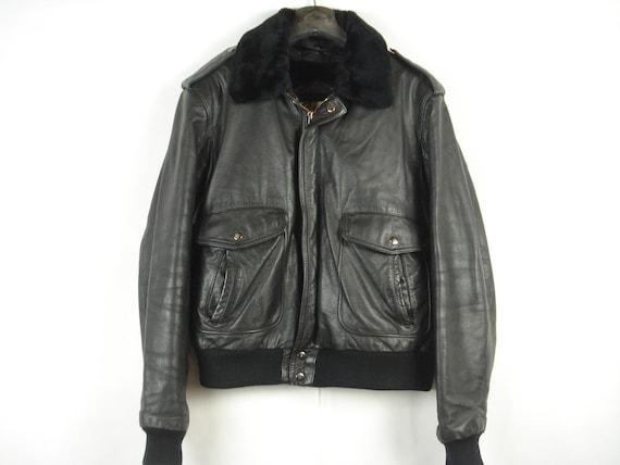 Vintage Berman's Black Leather Bomber Flight Jacke