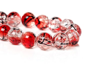 100 Red crackle glass beads B114