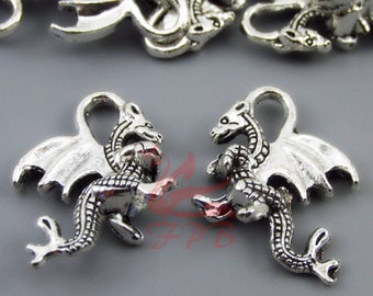 21mm Silver Yellow Plated Dragon Charm