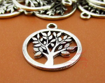 Tree of Life pendant beads BULK 25 Tree Charms Wholesale Tree Branch Tag pendant beads Antique Silver 12X21mm CM0788S
