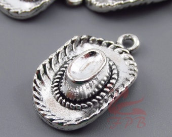 Western pendants etsy 5 cowboy hat charms 23mm wholesale antiqued silver plated western pendants sc0097053 aloadofball Choice Image