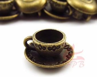 10 Bronze Teacup Charms 14mm Wholesale Alice In Wonderland Tea Party Pendants BC0021793