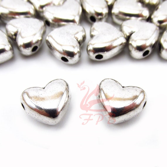 50 pcs  silver Plated heart beads 6x5mm