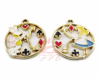 Alice In Wonderland And White Rabbit Clock Charms Set 23mm Gold Plated Enamel Pendants EC0096147