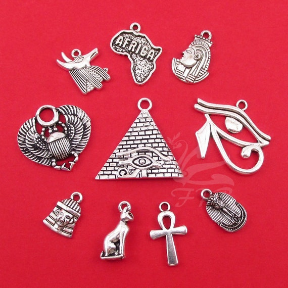 10 different antique silver tone charms The Egyptian Collection