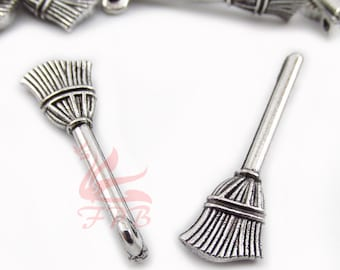 10 Broom Charms 26mm Antiqued Silver Plated Pendants SC0028456