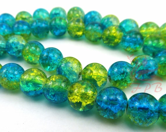 20 Glass Beads 10mm Sky Blue Crackle Beads Round 2 Tone Jewelry Supplies