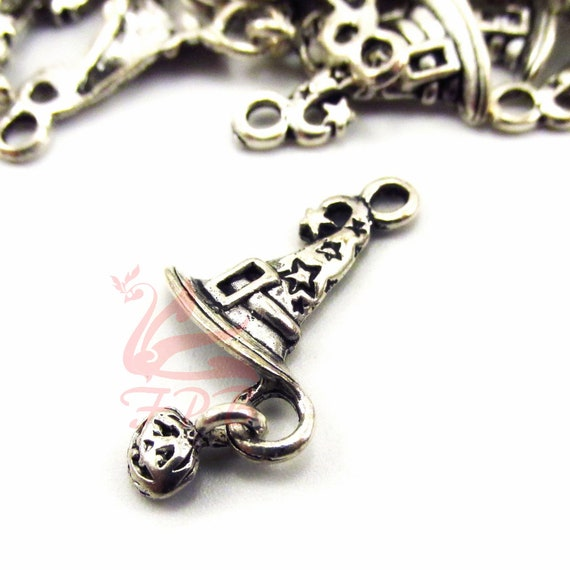 10 or 20 Antique Silver Tibetan 26mm Wizard Witches Hat Halloween Charm Pendant