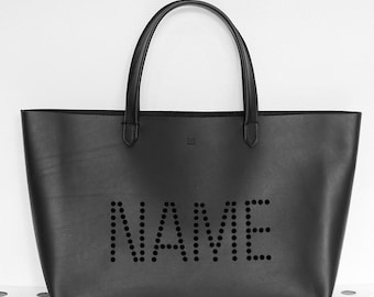 Create your own Dot Name on leather tote bags