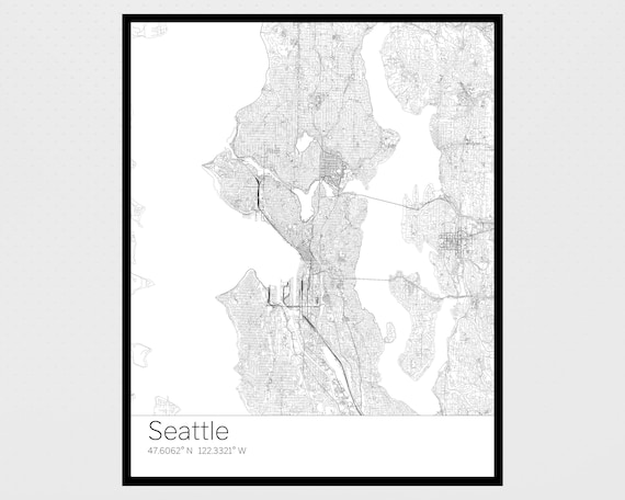 Seattle Map Wa.Instant Download Maps Of Seattle Wa Printable Maps Seattle Etsy