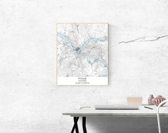 Pittsburgh Pennsylvania Map Print, Pittsburgh Printable Map, Pittsburgh Map Art, Pittsburgh Digital