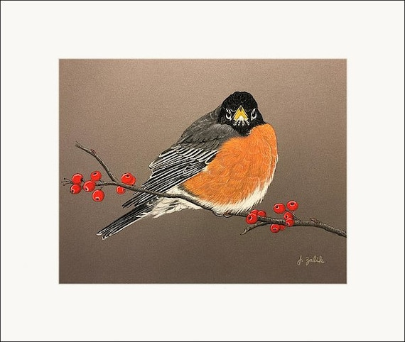 American Robin Print Art Home Decor Bird Painting Spring Fall Wall Art