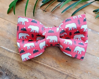 Bears and Mountains Dog Bow Tie