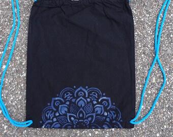 Gymnastic bag Cotton Backpack 1/2 Mandala Handmade