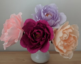 Downloadable Crepe Paper Peony Template/PDF Printable Download/DIY Paper Flower Template/Paper Peony Template/Paper Flower Tutorial