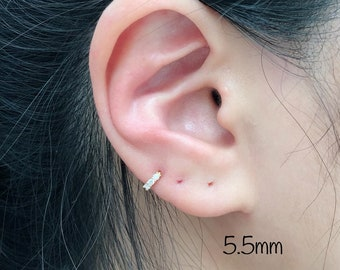 f12ff66e8 New 5.5mm Tiny CZ Hoop Cartilage (Single), Sterling Silver Mini Huggie hoop,  5.5mm(hoop inner size) Tiny Cartilage, Helix, Tragus, Rook, Da