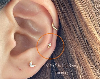 20g Tiny Dot and CZ piercing (Single), 925 Sterling Silver dot and cz stud cartilage helix tragus conch piercing