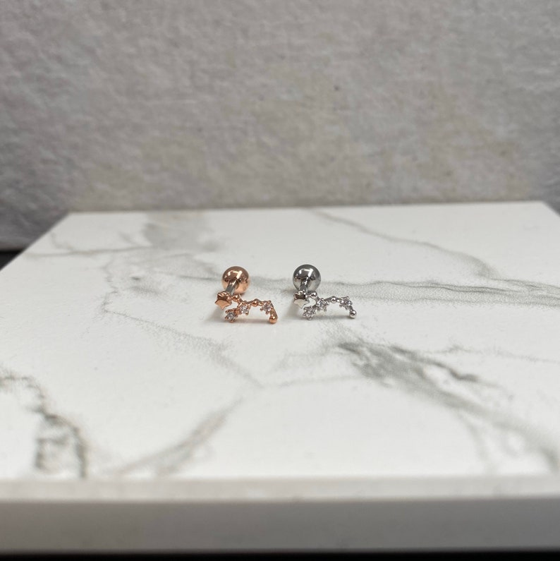 16g Tiny constellation piercing Helix Zodiac Piercing Tragus Star Sign Piercing Cartilage Piercing Single