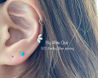 Genuine OPAL Crown Piercing (Single) Triple Marquise opal piercing, 925 Sterling Silver Genuine White Opal piercing, Cartilage Helix Conch