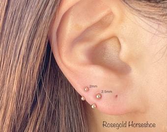 20g Rosegold HorseShoe 2mm/2.5mm/3mm Barbell piercing(Single), Septum Ring, Nose Ring, Cartilage, Rook, Helix