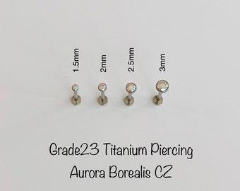 New 20g 18g 16g Teeny Tiny AB CZ Push In Bezel Setting Titanium Labret, Super tiny Aurora Borealis CZ 1.5mm/2mm/2.5mm/3mm Titanium piercing