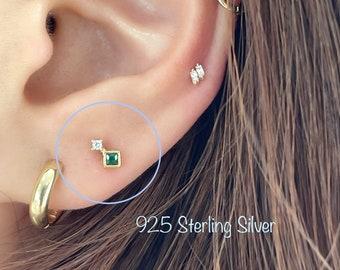 20g Le Vert Emerald CZ piercing (Single), 925 Sterling Silver emerald cz cartilage helix tragus conch piercing