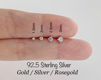 Teeny Tiny CZ Standard Earrings (PAIR), 1.5mm/2mm/2.5mm/3mm CZ Studs 92.5 Sterling Silver earrings, Minimalist Earrings