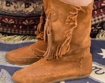 617982f1447f8 Suede fringe boots | Etsy